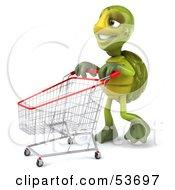 3d Green Tortoise Walking Through A Store With A Shopping Cart