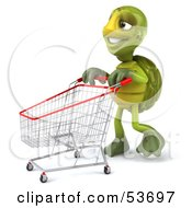 Royalty Free RF Clipart Illustration Of A 3d Green Tortoise Walking Through A Store With A Shopping Cart by Julos