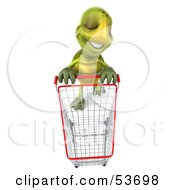 Royalty Free RF Clipart Illustration Of A 3d Green Tortoise In A Store With A Shopping Cart by Julos