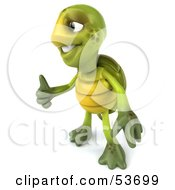 Royalty Free RF Clipart Illustration Of A 3d Green Tortoise Facing Left And Giving The Thumbs Up