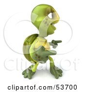 3d Green Tortoise Doing A Happy Dance - Version 4