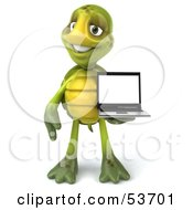 3d Green Tortoise Standing And Holding A Laptop