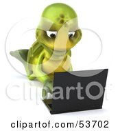 3d Green Tortoise On His Belly And Using A Laptop