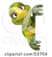 3d Green Tortoise Smiling And Looking Around A Blank Sign