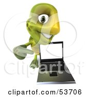 Royalty Free RF Clipart Illustration Of A 3d Green Tortoise Smiling And Pointing At A Laptop
