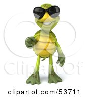 3d Green Tortoise Wearing Dark Shades And Pointing Outwards