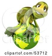 3d Green Tortoise Atop A Green Globe
