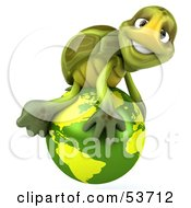 Royalty Free RF Clipart Illustration Of A 3d Green Tortoise Atop A Green Globe by Julos