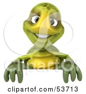 Royalty Free RF Clipart Illustration Of A 3d Green Tortoise Smiling And Standing Behind A Blank Sign by Julos