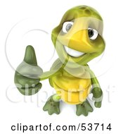 Royalty Free RF Clipart Illustration Of A 3d Green Tortoise Looking Upwards And Giving The Thumbs Up by Julos