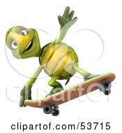 Royalty Free RF Clipart Illustration Of A 3d Green Tortoise Skateboarding Version 4