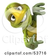 Royalty Free RF Clipart Illustration Of A 3d Green Tortoise Smiling And Looking Around A Blank Sign While Pointing by Julos