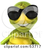3d Green Tortoise Wearing Dark Shades And Facing Front