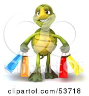3d Green Tortoise Walking With Colorful Shopping Bags