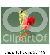 Cute 3d Green Tree Frog Holding A Love Heart Pose 8 by Julos