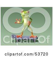 Cute 3d Green Tree Frog Skateboarding Pose 7 by Julos