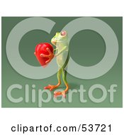 Cute 3d Green Tree Frog Holding A Love Heart Pose 7 by Julos