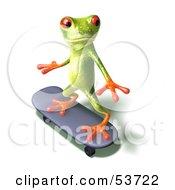 Cute 3d Green Tree Frog Skateboarding Pose 3 by Julos