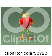 Royalty Free RF Clipart Illustration Of A Cute 3d Green Tree Frog Holding A Love Heart Pose 5