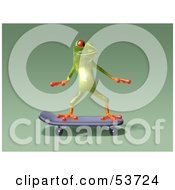 Cute 3d Green Tree Frog Skateboarding Pose 6 by Julos