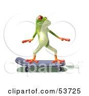 Cute 3d Green Tree Frog Skateboarding Pose 1 by Julos