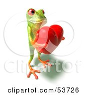 Cute 3d Green Tree Frog Holding A Love Heart Pose 4 by Julos