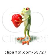 Cute 3d Green Tree Frog Holding A Love Heart Pose 3 by Julos