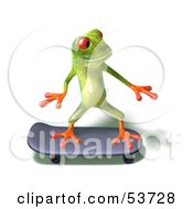 Royalty Free RF Clipart Illustration Of A Cute 3d Green Tree Frog Skateboarding Pose 4