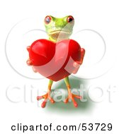 Royalty Free RF Clipart Illustration Of A Cute 3d Green Tree Frog Holding A Love Heart Pose 2