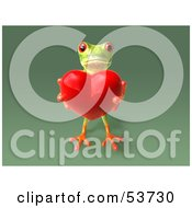 Cute 3d Green Tree Frog Holding A Love Heart Pose 6 by Julos