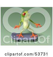 Cute 3d Green Tree Frog Skateboarding Pose 10 by Julos