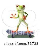 Cute 3d Green Tree Frog Skateboarding Pose 5 by Julos