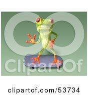Cute 3d Green Tree Frog Skateboarding Pose 8 by Julos