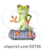 Cute 3d Green Tree Frog Skateboarding Pose 2 by Julos