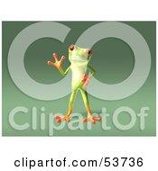 Cute 3d Green Tree Frog Waving Pose 4 by Julos
