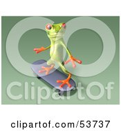 Cute 3d Green Tree Frog Skateboarding Pose 9 by Julos