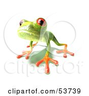 Cute 3d Green Tree Frog Curiously Looking At The Viewer by Julos