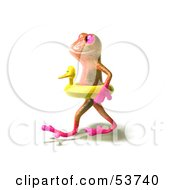 Royalty Free RF Clipart Illustration Of A Cute 3d Pink Tree Frog Wearing A Ducky Inner Tube Pose 2