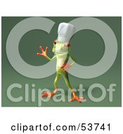 Cute 3d Green Tree Frog Chef Wearing A Hat Pose 6 by Julos