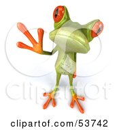 Royalty Free RF Clipart Illustration Of A Cute 3d Skinny Green Tree Frog Looking Up And Waving by Julos