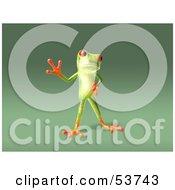 Cute 3d Green Tree Frog Waving Pose 5 by Julos