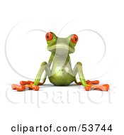 Royalty Free RF Clipart Illustration Of A Cute 3d Green Tree Frog Lazily Leaning Back Pose 1 by Julos