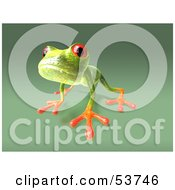Cute 3d Green Tree Frog Looking Curiously At The Viewer by Julos