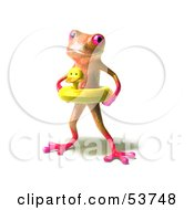 Royalty Free RF Clipart Illustration Of A Cute 3d Pink Tree Frog Wearing A Ducky Inner Tube Pose 1
