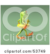 Royalty Free RF Clipart Illustration Of A Cute 3d Green Tree Frog Wearing A Ducky Inner Tube Pose 8