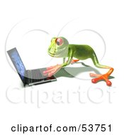 Royalty Free RF Clipart Illustration Of A Cute 3d Green Tree Frog Using A Laptop Pose 2