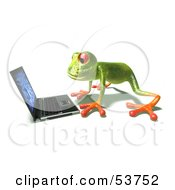 Cute 3d Green Tree Frog Using A Laptop Pose 1 by Julos
