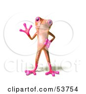 Royalty Free RF Clipart Illustration Of A Cute 3d Pink Tree Frog Waving Pose 1