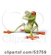 Royalty Free RF Clipart Illustration Of A Cute 3d Green Tree Frog Lazily Leaning Back Pose 2 by Julos