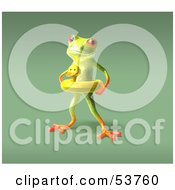 Royalty Free RF Clipart Illustration Of A Cute 3d Green Tree Frog Wearing A Ducky Inner Tube Pose 5